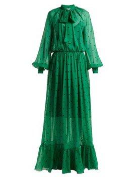 Polka Dot Silk Maxi Dress by Msgm