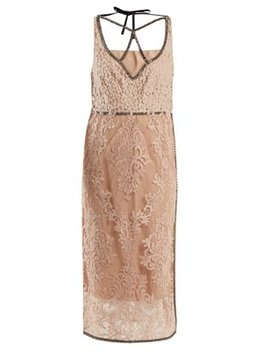 Crystal Embellished Floral Lace Dress by No. 21