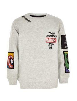 Boys Grey Marvel Comic Badge Sweatshirt by River Island