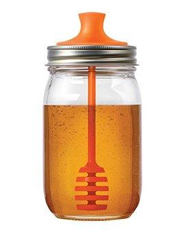 Jarware 82623 Honey Dipper Lid For Regular Mouth Mason Jars, Orange by Jarware