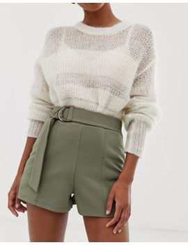 Asos Design Shorts In Jersey Crepe With Belt And Tortoiseshell D Rings by Asos Design