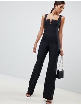 Vesper Plunge Front Wide Leg Jumpsuit In Black by Vesper