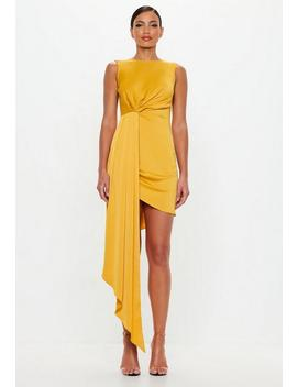 Peace + Love Yellow Drape One Sided Mini Dress by Missguided