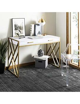 Safavieh Dsk2201 A Home Collection Elaine Desk, White And Gold by Safavieh