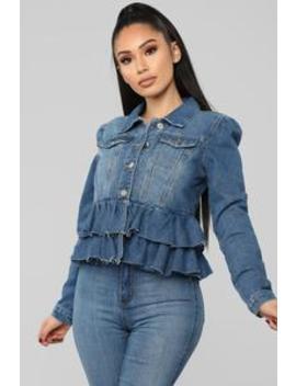 Ruffle Up Denim Jacket   Medium Wash by Fashion Nova