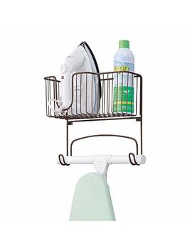 M Design Metal Wall Mount Ironing Board Holder With Large Storage Basket   Holds Iron, Board, Spray Bottles, Starch, Fabric Refresher For Laundry Rooms   Bronze by M Design