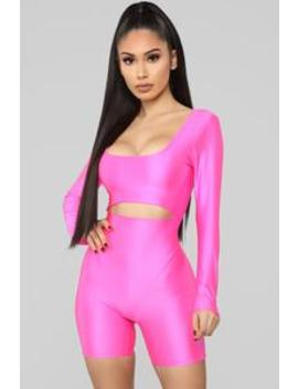 Get To The Point Romper   Neon Pink by Fashion Nova