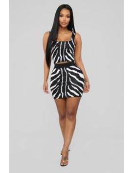 Stay Wild Zebra Print Set   Black/White by Fashion Nova