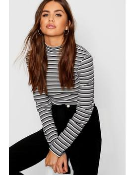 Top Manches Longues à Rayures Et Col Montant by Boohoo