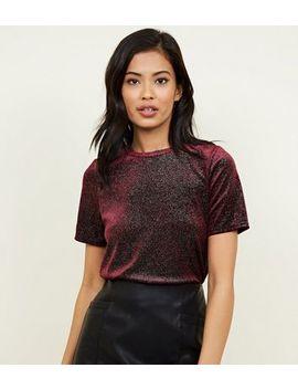 Burgundy Glitter Velvet T Shirt by New Look
