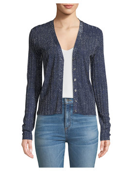 Toll Ribbed Metallic Cardigan by Veronica Beard