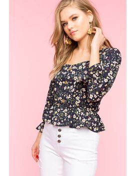 Floral Button Front Blouse by A'gaci