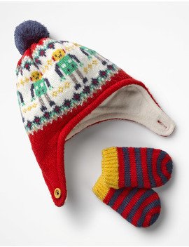 Knitted Hat & Mittens Set by Boden