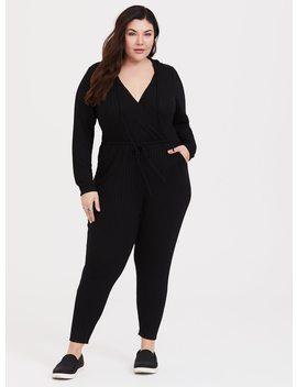 Black Long Sleeve Hacci Jumpsuit by Torrid