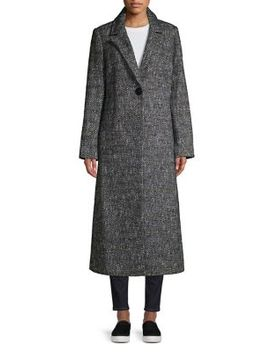 Notch Lapel Tweed Coat by Sam Edelman