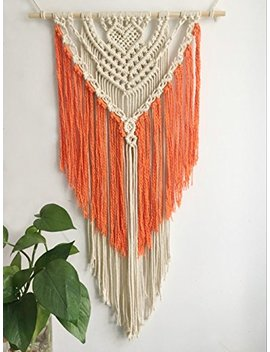 Youngeast 100 Percents Handmade Boho Macrame Wall Hanging Home Décor Art Home Décor,31 X 16 Inches Orange by Youngeast