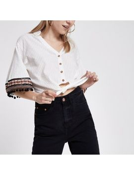 Petite Cream Embroidered Crop Top by River Island
