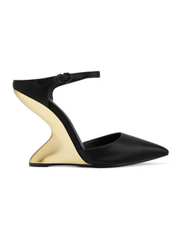 Naturno Satin Wedge Mules by Salvatore Ferragamo