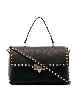 Black Rockstud Studded Leather Shoulder Bag by Valentino