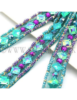 Green Purple Bead Trim Rhinestone Trimming,Edging,Embellishment,Costume,Pageant by Sarahi.Nyc