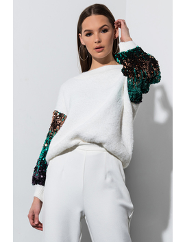 Come Through Sequin Sleeve Sweater by Akira