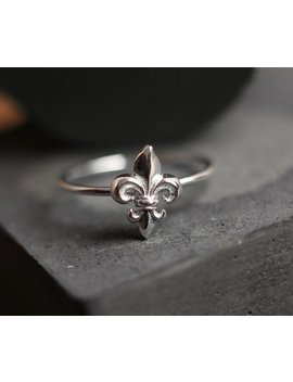 Fleur De Lis Sterling Ring  Free Shipping, Silver Ring, Silver Stacking Ring, Sterling Stacking Ring by Etsy
