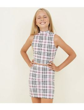 Girls Pink Check Print Tube Skirt by New Look