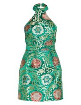 Green Oriental Jacquard High Neck Shift Dress by Prettylittlething