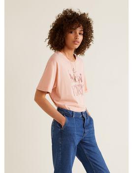 T Shirt Coton Brodé by Mango