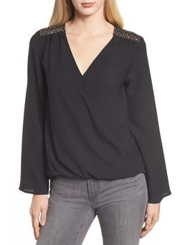 X Glam Squad Embellished Shoulder Top by Gibson