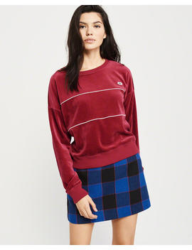 Velour Crewneck Sweatshirt by Abercrombie & Fitch