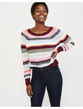 Cable Pointelle Boat Neck Sweater by Abercrombie & Fitch