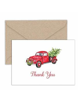 Paper Frenzy Red Truck With Tree Holiday Thank You Note Cards And Envelopes   25 Pack by Paper Frenzy