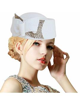 Lawliet Ladies Rhinestone Teardrop Fancy Wool Fascinator Cocktail Pillbox Cap Hat A254 by Lawliet