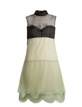 Cigaline Contrast Panel Pleated Organza Dress by Prada