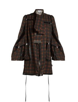 Leather Trimmed Checked Wool Mini Dress by Loewe