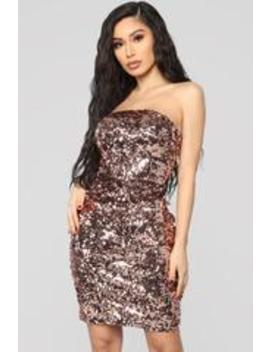 Midnight Magic Sequin Mini Dress   Rose Gold by Fashion Nova