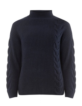 Navy High Neck Cable Jumper by Dorothy Perkins
