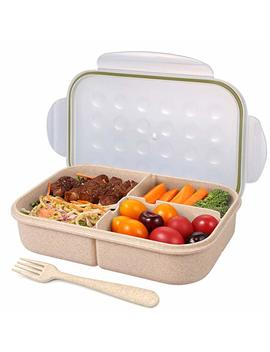 Bento Box For Adults Lunch Containers For Kids 3 Compartment Food Containers Leak Proof(Includes Flatware,Transparent) by Amazon