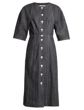 Cocoon Sleeved Button Down Denim Dress by Tibi