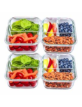2 & 3 Compartment Glass Meal Prep Containers [4 Pack, 30 Oz]   Food Storage Containers With Lids, Bpa Free Food Prep Containers, Bento Box, Lunch Box, Portion Control, Airtight by Amazon