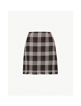 Silvio Checked Woven Mini Skirt by Pinko