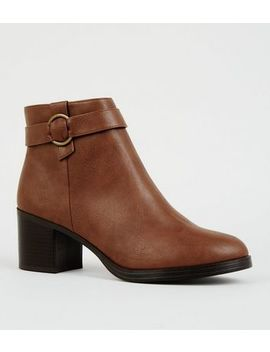 Tan Comfort Ring Strap Ankle Boots by New Look