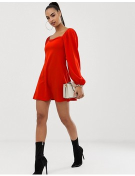 Asos Design Mini Dress With Sweetheart Neck In Scuba Crepe by Asos Design