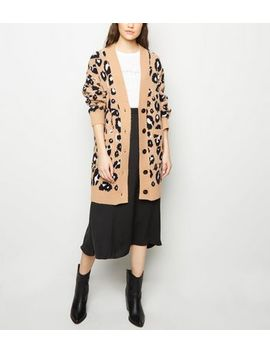 Brown Leopard Print Knitted Cardigan by New Look