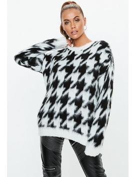 White Brushed Dogstooth Print Oversized Jumper by Missguided