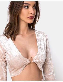 Lorya Crop Top In Cream Crushed Velvet By Motel by Motel