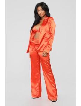 Slayin' It 3 Piece Set   Orange by Fashion Nova