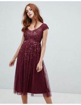 Amelia Rose Embellished Ombre Sequin Midi Dress With Cami Strap In Berry by Amelia Rose