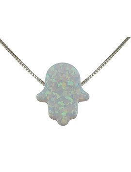 A Judaica Created Fire Opal Hamsa Hand Necklace White Opal Pendant With Sterling Silver Box Chain by A Judaica